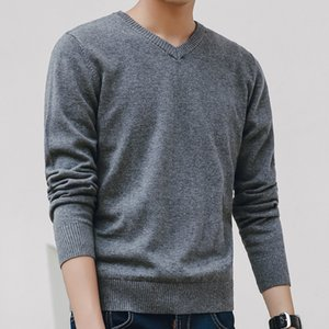 Sweater Men 2020 Autumn Casual Pullovers Men V-Neck Solid Cotton Knitted Brand Clothing Slim Fit Male Sweaters