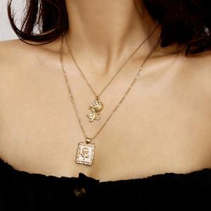 Color rosa en oro de múltiples capas del collar pendiente redondo de la moneda geométrica cadena de la joyería Gargantilla partido de las mujeres collar del medallón Moda