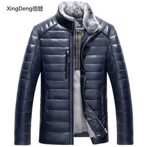 XingDeng Motosiklet Ceketler Erkekler Erkek Katı İş Casualrabbit kürk boyun üst Coat kış Giyim Bombacı Deri Ceket