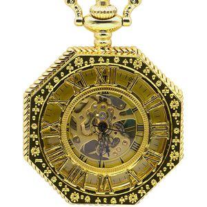 Nuova mano di modo meccanico a carica automatica orologio da tasca catena completa Oro Ottagono forma di scultura di scheletro Uomini Fob Catena Orologi PJX1378