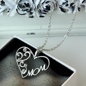 """FAMSHIN Moda Kore anne ve çocuk aşk """"Anne"""" kristal kolye kolye anneler Günü için hediyeler kazak zincir kolye anne"""