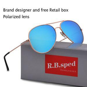 Marka tasarım Erkekler Kadınlar Için Polarize Güneş Gözlüğü Yüksek Kaliteli Pilot Güneş Gözlükleri UV400 polaroid lens kılı ...