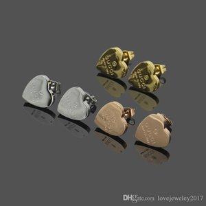 роскошные дизайнерские ювелирные изделия женские серьги любовь серьги из нержавеющей стали серебро розовое золото 18 карат золото elagant сердце шпильки МОДА СТИЛЬ
