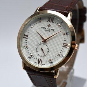 판매 40mm의 고급 브랜드 울트라 얇은 가죽 밴드 석영 라운드 망에 무료 배송 패션 아날로그 일 날짜 남성 디자이너 시계 시계