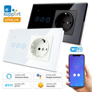 Wifi padrão da UE Remote Control soquete 2.4G Wifi Inteligente 145 * 85 * 35 milímetros painel de toque de vidro 1 2 3 Gang 90V-240V LED Mudar T200605