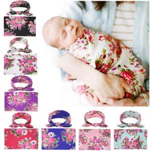 Nouveau-né bébé Couvertures Emmailloter + lapin oreille Bandeaux Ensembles Swaddle photo Wrap tissu floral Pivoine Bébé Motif Photographie 7 couleur
