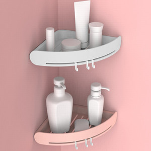 Soco gratuito de plástico Estante de Canto prateleira do banheiro Organizador snap up Caddy Banho Duche Titular parede Armazenamento Shampoo Titular decoração de parede