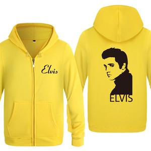 Fermuar Kapüşonlular Erkekler Elvis Presley Baskılı Erkek Hoodie Müzik Hip Hop Polar Ceket Coat Erkekler Kadınlar Kış Kazak Hayranları Giyim