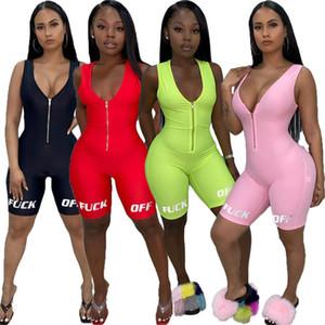 Женщины дизайнерские комбинезоны летняя одежда комбинезоны письмо новый стиль V-образным вырезом молния комбинезон Bodycon шорты без рукавов S-XL DHL 738
