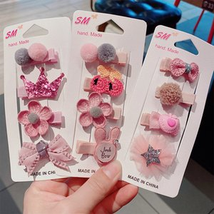 3 4 piece   set of cartoon children flower hairpin girl cute hairpin child baby sweet broken hair bangs clip hair accessories