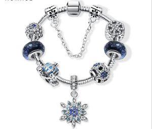 Charm Beads Fit For Pandora Jewelry 925 Pulseras de plata Copilla de nieve Colgante Bangle Cielo azul Carrito de calabaza Carrito Charms Joyería de DIY con caja de regalo