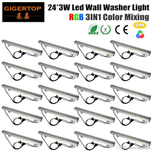 Discount Price 20 units 24x3W RGB 3IN1 Color DMX512 Stage Led Wall Washer Light garden yard outdoor square flood landscape down light lamp