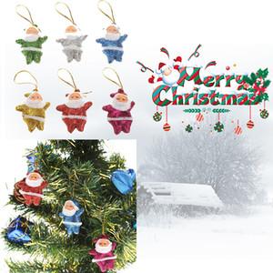 Mini Weihnachtsmann-Puppe Glitzernde Pailletten Anhänger Emulation Naturgetreue Weihnachtsbaum Kunststoff hängende Verzierung 6pcs / lot