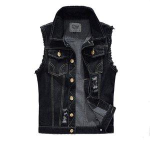Vintage Design Veste Denim Homme Homme Noir Couleur Slim Fit manches Vestes Homme trou Brand Jeans Taille Plus Waistcoat 6XL LA034