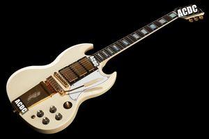 1963 SG Custom Classic weiße E-Gitarren Long Version Maestro Vibrola Tremolo Tailpiece Harpe Logo, 3 Humbucker Pickup, Gold Hardware