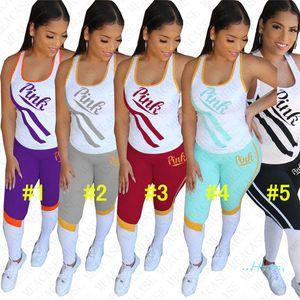 Cartas Imprimir Vest Top Womens equipamento do verão sem mangas tanque T-shirt + Legging Calças 2pcs Set Treino Sportswear D42706