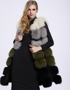 Faux Fox Fur Vest Women Winter Fashion Medium Long Artifical Fox Fur Vests Woman Warm Fake Fox Fur Coats Female Ladies