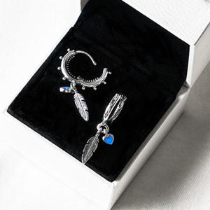 Turkuaz Kalpler ve Tüy Hoop Küpe Kadınlar Lüks Tasarımcı Pandora için 925 Ayar Gümüş Moda Küpe Orijinal Logo Kutusu Setleri