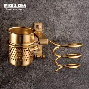 Oro cremagliera haie asciugatrice con famiglie tazza asciugacapelli cremagliera capelli Holder Colpo alluminio mensola del bagno Accessori MJ595