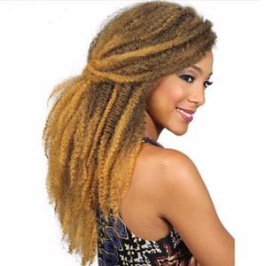 "حار ! 3 packs Marley Braids 18 "" Afro Kinky Twist Hair Crochet Braids Ombre Color Marley Braining Hair Synthetic Hair Extensions for Women"
