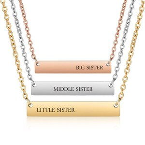Mode sculpté grande soeur / petite soeur / petite soeur pendentif collier pour les femmes créatif barre en acier inoxydable collier charme clavicule cha