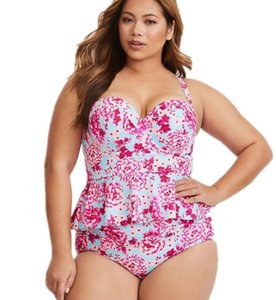 Cheap Sports Plus Big grande swimwear mulheres de grande impresso aço revestido difícil apoiar cintura alta decoração em estilo saia Sets Swimwear Bikini