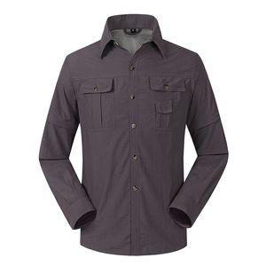 Nouveau séchage rapide en plein air Hommes Chemises tactiques Respirant Vêtements amovibles Camisa Pesca Sport Pêche Trekking Vêtements de randonnée