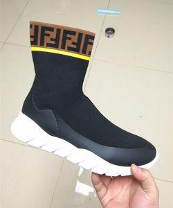 Branded Men Wasserdichte Stretch Tech Stoff High-tops Sneaker Stiefel Designer Männliche Socke Undulierende Gummisohle Schuh