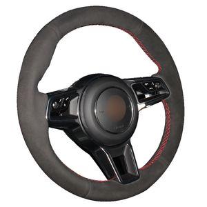 Siyah Süet Araba Direksiyon Kapağı Porsche Macan Cayenne 2015 2016 için