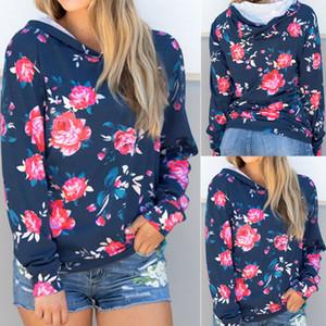 2017 Nouveau Mode féminine surdimensionnée imprimé floral à manches longues à capuche en coton doux dames Jumper Pull à capuche Top shirt