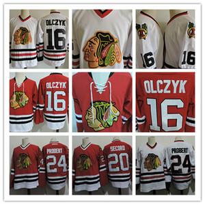 Mens 1999 Chicago Blackhawks Ed Olczyk maglie cucita # 24 Bob Probert # 20 AL Secord Chicago Black Hawks hockey Jersey S-3XL