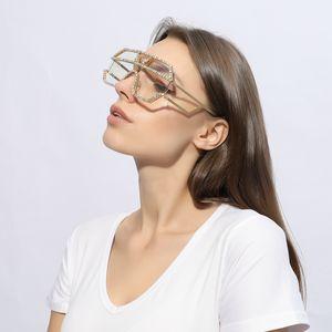 2019 sunglasses women brand rhinestone geometric patterns metal oversized sun glasses men gradient lens cool