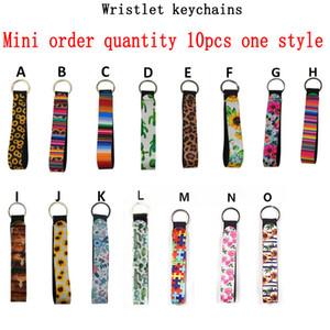 Bunte Neopren-Armband Keychain Printed Handgelenk Schlüssel Gürtel Sonnenblume-Streifen Leopard Lanyard Schlüsselring Schlüsselanhänger NEU