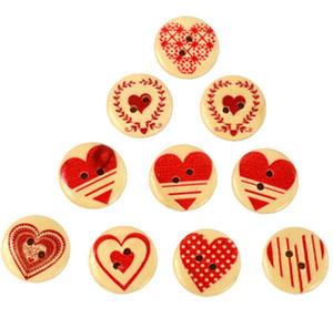 30pcs Wooden Buttons Round Shape Love Heart Pattern Dia.20mm