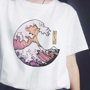 Sunset Over The Sea Harajuku White Women T-shirt Cotton Tshirt Summer Tee Shirt Femme Vogue Top Japanese Style Tee Shirts