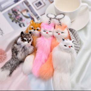 Sevimli Kabarık Yay-düğüm Fox Topu Anahtarlık Yüzükler Ponpon Gerçek Fox Kürk Charm Anahtarlık Araba Çanta Anahtarlık Kadın takı