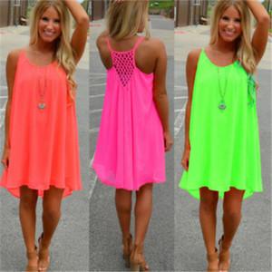 2020 Fashion Sexy Casual Dresses Women Summer Sleeveless Evening Party Beach Dress Short Chiffon Mini Dress Womens Clothing Apparel