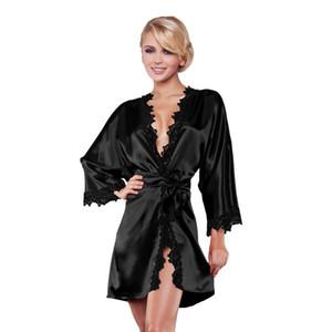 Luxuxfrauen Seide Langarm Nachtwäsche Satin Morgenmantel Robe mit tiefer V-Ausschnitt Lace Nachtwäsche