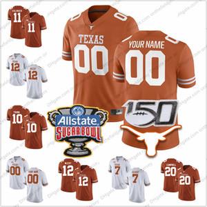 Обычай техасских лонгхорнов под любым именем номер 150TH Sugar Bowl 11 Сэм Элингер 12 Кольт Маккой 20 Кэмпбелл 10 Молодые футболки колледжа S-3XL