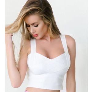 BEAUKEY Moda Sexy Short Branco Bandage Cortar Tops Vest Cor Branco Preto Vermelho Plus Size T200327