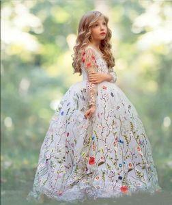 2020 Новых вышивки Цветочного свадебного День рождения девушки цветка мантия шарик с длинным рукавом Little Girls Pageant платья Настроить