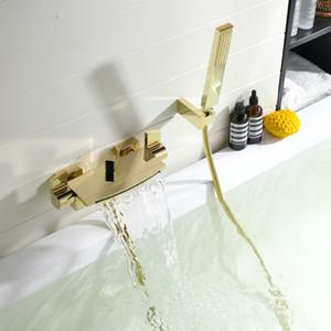 욕조 샤워 세트 벽걸이 형 폭포 욕조 수도꼭지, 욕실 냉온수 욕조 샤워 수도꼭지 황동 금