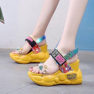 Super high heels chunky platform big rhinestones PU sandals women summer fashion transparent wedges Open toe sandalias mujer