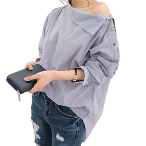Kadın Bluzlar İçin Kadınlar Omuz Bluz Sonbahar Moda Gömlek Kadın Kadın Tops Off Çizgili Bluzlar Seksi Gömlek Print Tops Ve