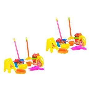 2 Set Simulation Reinigungs-Set-Mopp-Besen-Spielzeug Kid Pretend Play Haushaltszubehör