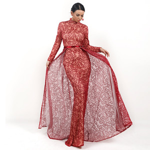 Red Overskirt Elegant Evening Formal Dresses 2019 Mermaid Prom Dresses Detachable Skirt Special Occasion Dress Real Picture In Stocks