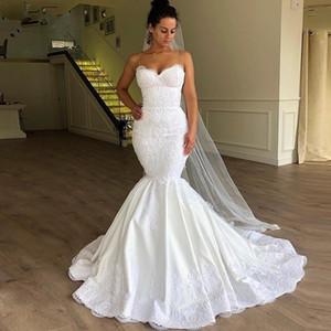 Africano Plus Size sirena abiti da sposa 2020 Spaghetti Collo Lace Up elegante Abiti da sposa in pizzo Appliques bianco Vestido De Noiva