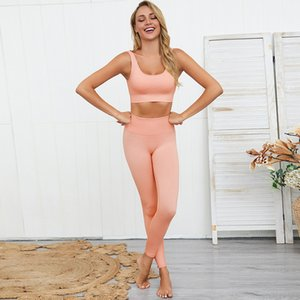 Ropa de yoga confortable femmes Stretchy sportswears Définit la taille Legging Activewear Fitness Course costumes Entraînement bleu kaki
