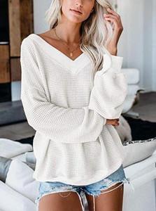 Diseñador de moda Mujer Camisas casuales Camiseta de manga larga V-Nck Mujeres sexy Otoño Camisetas Camisas de lujo sueltas para mujer Talla S-3XL