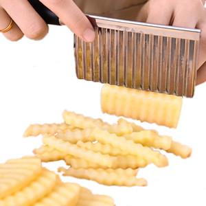 Bıçağın Kesme Aracı Paslanmaz Çelik Sebze Meyve Dalgalı Kesici Patates Salatalık Havuç Waves Pişirme